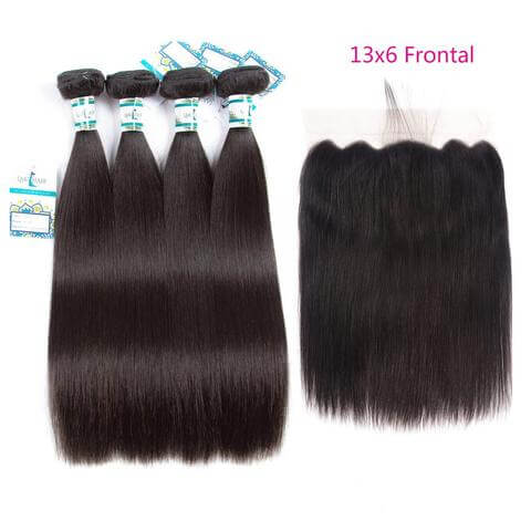 Lakihair 8A Brazilian 100% Unprocessed Virgin Human Straight Hair 4 Bundles With Lace Closure 13*6