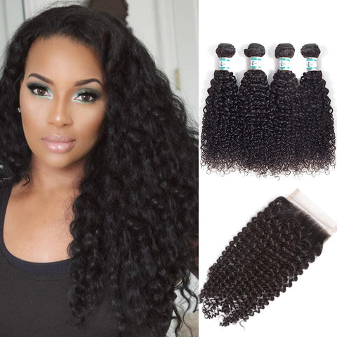 Lakihair Unprocessed Virgin Human Hair Bundles With Lace Frontal Closure Peruvian Kinky Curly Hair 4 Bundles With Lace Closure