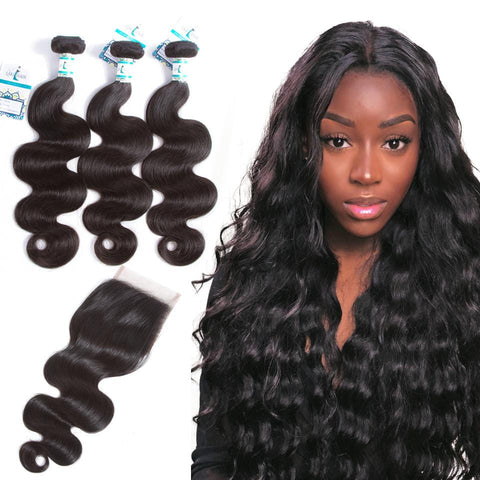 Lakihair 3 Bundles with Lace Closure Body Wave Peruvian Virgin Human Hair