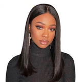 Lakihair 100% Unprocessed Short Human Hair Straight Lace Front Wigs With Baby Hair 150% Density