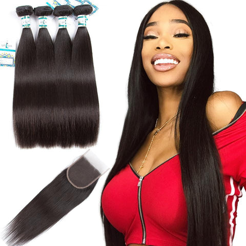 Lakihair 8A Peruvian Virgin Human Straight Hair 4 Bundles With Lace Closure 4x4