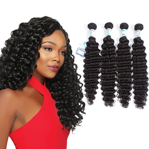 Lakihair 10A Brazilian 4 Bundles Deep Wave Hair Bundles Unprocessed Real Virgin Human Hair