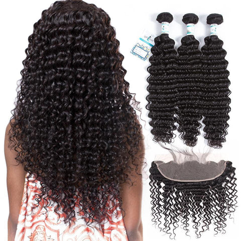 Lakihair Ear To Ear Frontal With Deep Wave 3 Bundles Virgin Hair Extensions