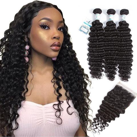Lakihair 8A Peruvian Human Hair Deep Wave 3 Bundles With Lace Closure 4x4