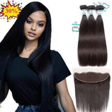 Lakihair 3 Bundles Straight Hair With Lace Frontal Pre Plucked 13x4