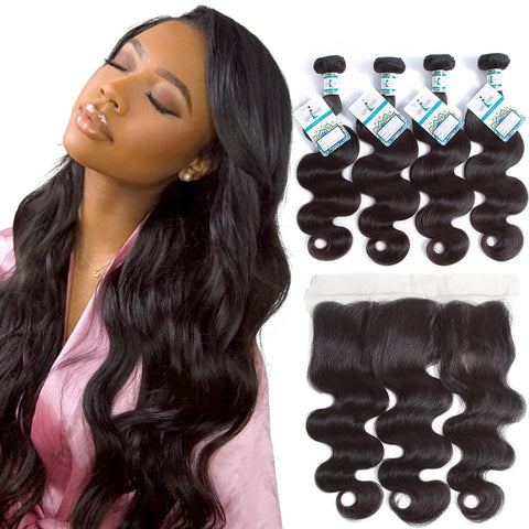 Lakihair Unprocessed Virgin Human Hair 4 Bundles With Lace Frontal Closure Malaysian Body Wave Hair Bundles