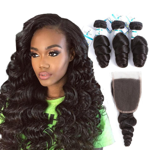 Lakihair 8A Peruvian Human Hair Loose Wave 3 Bundles With 4x4 Lace Closure