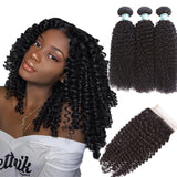 Lakihair 8A Brazilian Kinky Curly 3 Bundles With Lace Closure 4x4 Free Part Middle Part Three Part