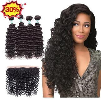 Lakihair 8A Brazilian Virgin Human Deep Wave Hair 4 Bundles With 13x4 Frontal Closure