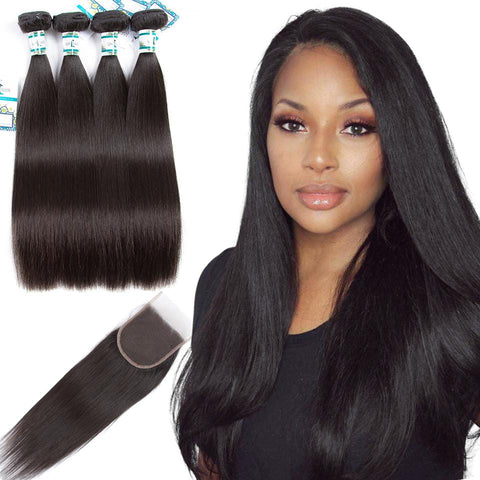 Lakihair 8A Malaysian Virgin Human Straight Hair 4 Bundles With Lace Closure 4x4