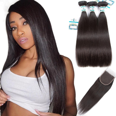 Lakihair Straight Hair 3 Bundles With Lace Closure Indian Virgin Human Hair Bundles With Closure