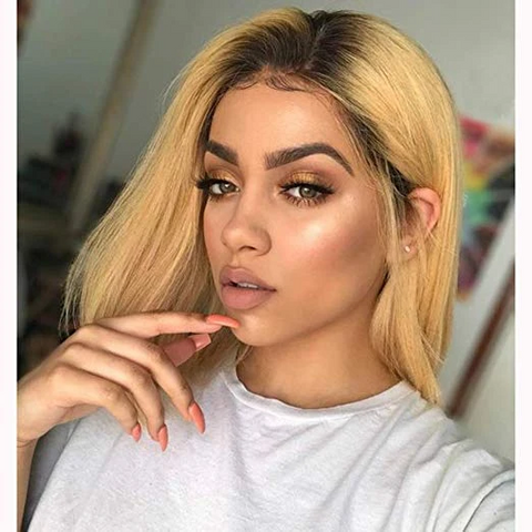 Lakihair 1B/27 Ombre Blonde Short Bob 8A Straight 180% Density Lace Front Human Hair Wig Pre Plucked