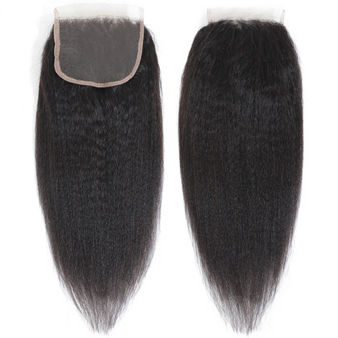 Lakihair 8A Kinky Straight Lace Closure 4x4 Brazilian Virgin Human Hair With Baby Hair