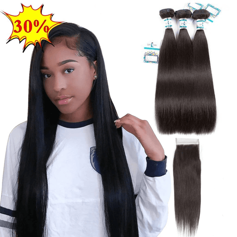 Lakihair 8A Brazilian Straight Hair 3 Bundles With 4x4 Lace Closure Soft Unprocessed Virgin Human Hair