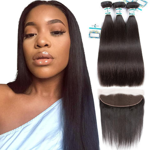 Lakihair Peruvian Virgin Human Hair 3 Bundles With 13x4 Straight Lace Frontal Closure