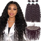 Lakihair Water Wave 3 Bundles With Pre Plucked Lace Frontal Ear To Ear