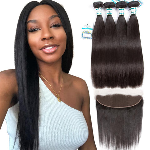 Lakihair Peruvian Hair Bundles With Lace Frontal Closure Straight Hair Virgin Human Hair 4 Bundles With Lace Frontal