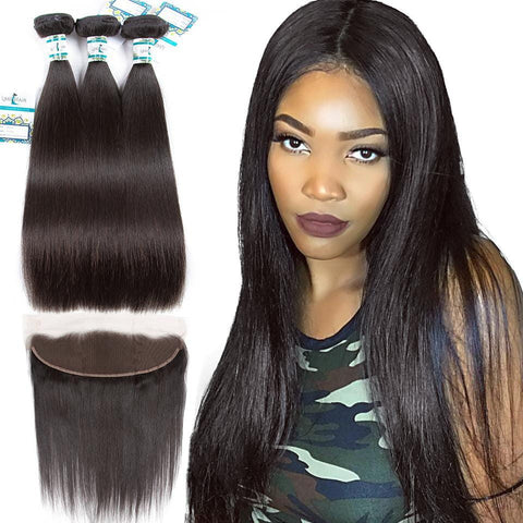 Lakihair Straight Hair Bundles Malaysian Human Hair 3 Bundles With Frontal Closure