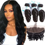 Lakihair 3 Bundles Brazilian Hair Loose Wave Bundles With 13x4 Lace Frontal