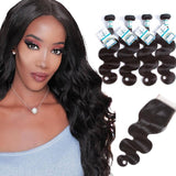 Lakihair 8A Indian Virgin Human Hair Body Wave 4 Bundles With Lace Closure 4x4