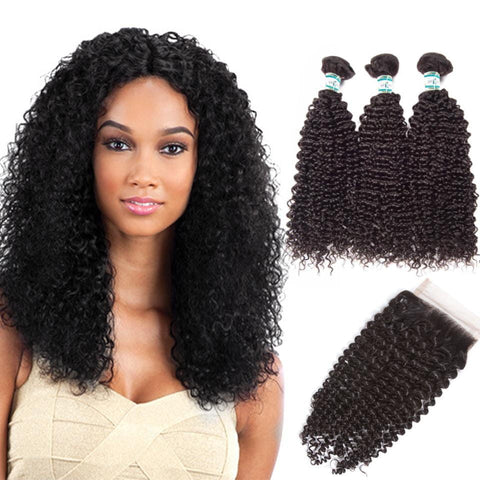 Lakihair 8A Malaysian Human Hair Kinky Curly 3 Bundles With 4x4 Lace Closure