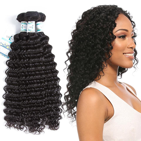 Lakihair 8A Indian Virgin Human Hair Deep Wave Hair 3 Bundles Deals