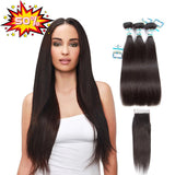 Lakihair Easter Crazy Sale Up to 50% Off 8A Straight 3 Bundles with Closure 4x4