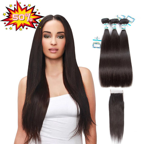 Double 11 Crazy 50% Off 8A Straight 3 Bundles with Closure 4x4