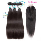Lakihair 8A Straight Human Hair 3 Bundles with Closure 2x6 Unprocessed Virgin Hair Weave