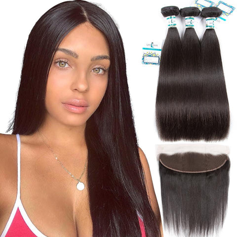 Lakihair Unprocessed Virgin Human Hair 3 Bundles With Lace Frontal Closure Indian Straight Hair Bundles