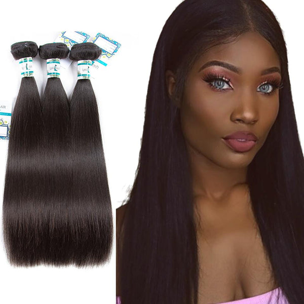 Lakihair 8A Indian Virgin Human Hair Weaving Straight Hair 3 Bundles
