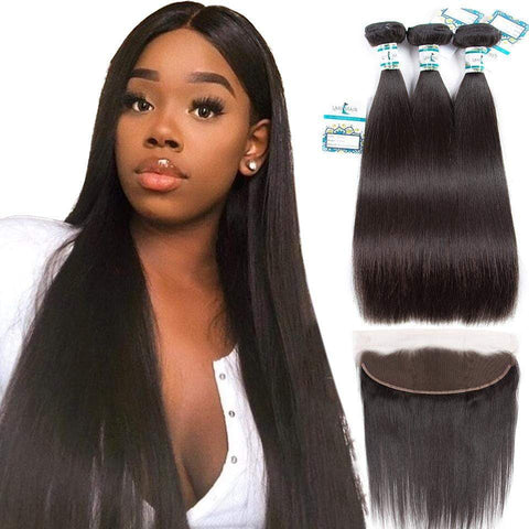 Lakihair Unprocessed Virgin Human Hair 4 Bundles With Lace Frontal Closure Malaysian Straight Hair Bundles