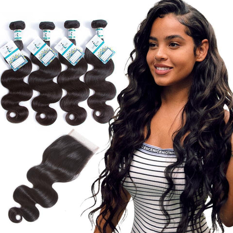 Lakihair 8A Virgin Human Hair Body Wave 4 Bundles With Lace Closure 4x4