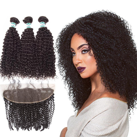 Lakihair 100% Real Unprocessed Indian Hair 3 Bundles With Lace Frontal Closure