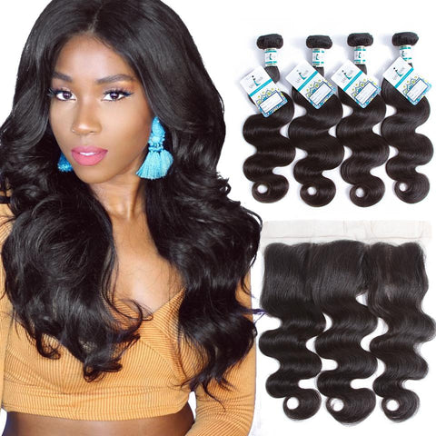 Lakihair Unprocessed Virgin Human Hair 4 Bundles With Lace Frontal Closure Body Wave Hair Bundles