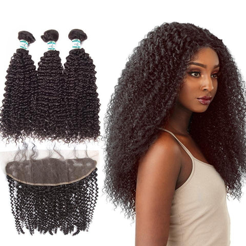 Lakihair Real Malaysian Hair 3 Bundles With Lace Frontal Closure Kinky Curly Hair Bundles