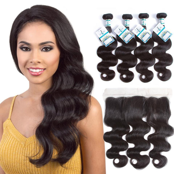 Lakihair Best Peruvian Virgin Human Hair Body Wave 4 Bundles With Lace Frontal Closure 13x4