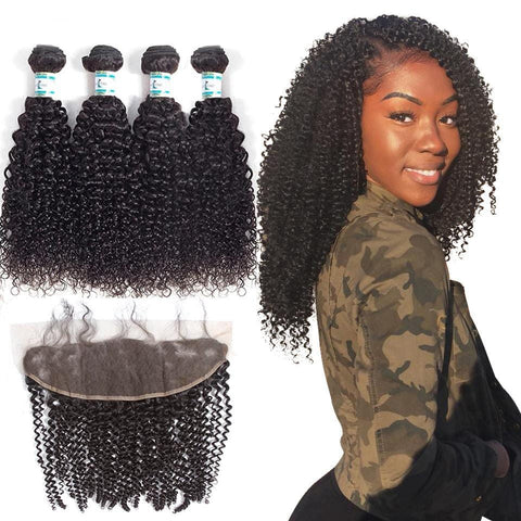 Lakihair 8A Brazilian Virgin Human Kinky Curly Hair 4 Bundles With 13x4 Frontal Closure