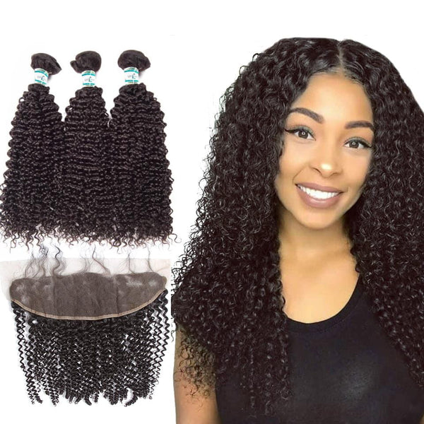 Lakihair Unprocessed Virgin Human Hair 3 Bundles With Lace Frontal Closure Peruvian Kinky Curly Bundles