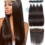 Lakihair 8A Indian Straight Hair 4 Bundles With Lace Frontal Closure 13x4 Pre Plucked