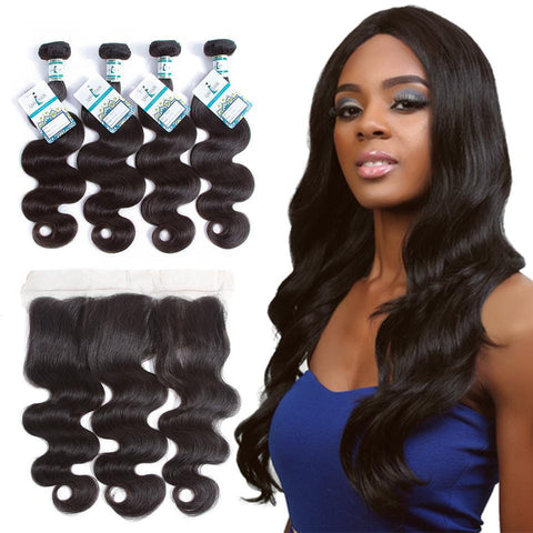 Lakihair 8A Brazilian Virgin Human Body Wave Hair 4 Bundles With 13x4 Frontal Closure