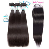 Lakihair 8A Brazilian Straight Hair 3 Bundles With Closure 5x5 Remy Human Hair Weaving