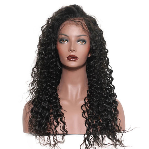 Lakihair 8A Brazilian 360 Lace Frontal Wigs Deep Wave Pre Plucked With Baby Hair