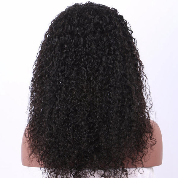 Lakihair 360 Lace Frontal Wigs Kinky Curly Human Hair Pre Plucked Natural Color 8A Brazilian Hair