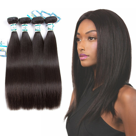 Lakihair 10A Top Grade  Brazilian 4 Bundles Straight  100% Unprocessed Human Hair Weaving