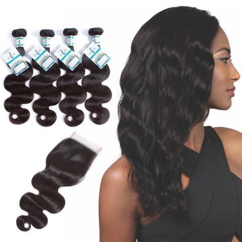 Lakihair 8A Peruvian Virgin Human Hair Body Wave 4 Bundles With Lace Closure 4x4