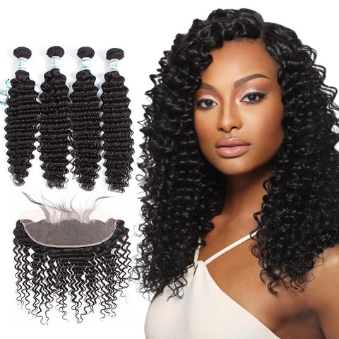 Lakihair Unprocessed Virgin Human Hair 4 Bundles With Lace Frontal Closure Malaysian Deep Wave Hair Bundles