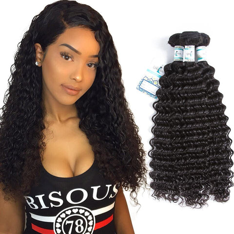 Lakihair 8A Malaysian Virgin Human Hair Deep Wave Hair 3 Bundles Deals