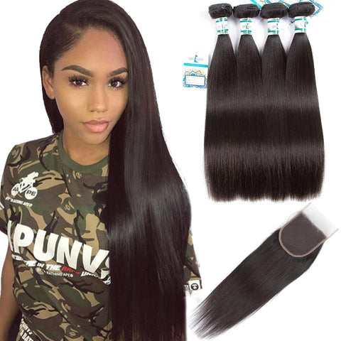 Lakihair 8A Virgin Human Straight Hair 4 Bundles With Lace Closure 4x4