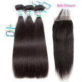 Lakihair 8A Straight Hair 3 Bundles with Closure 6x6 Brazilian Human Hair Extension Natural Color